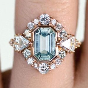 Jewels - natural aquamarine - diamonds 2